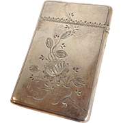 Victorian Card Case Sterling Engraved Flowers