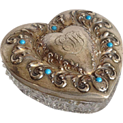 Cut Glass Heart Box Sterling and Turquoise 19th c.