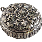 Repousse Floral Chatalaine Pill Box Sterling Circa 1900