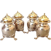 Two Pair of Howard Salt And Pepper Shakers with Crests Sterling