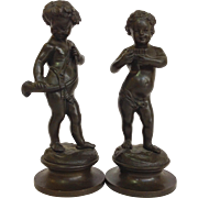 Pair of Bronze Cherub Figures