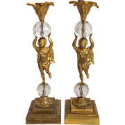 Gilt Bronze Cherub Candle Holders Circa 1890's