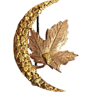 Alaska Gold Leaf And Moon Pin 14 and 22 Karat Nugget