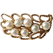 Pearl Leaf Pin Openwork 14 Karat Gold