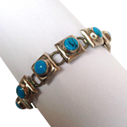 """Sterling Turquoise Mexican Bracelet 7"""""""
