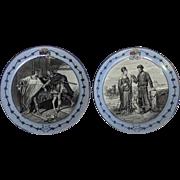 Pair of Montereau Creil Blue Hamlet Plates