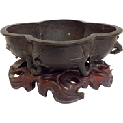 Chinese Bronze Planter With Carved Stand