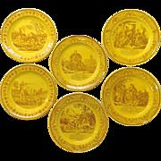 Group of Six Creil Yellow Faince Transferware Plates Monteread
