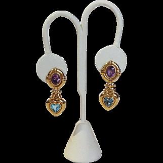 Amethyst and Blue Topaz Earrings 14k