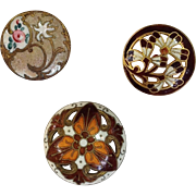 Group of Three French Enamel Buttons 19th c.
