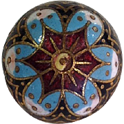 French Enamel Button Antique