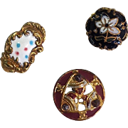 Group of Three Small French Enamel Buttons