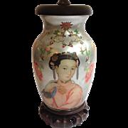 Oriental Reverse Painted Glass Lamp Custom Shade