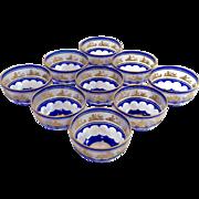 Beaudoin Cobalt Finger Bowls by Val St. Lambert Blue Cut to Clear Gilded