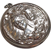 Lady Locket Art Nouveau Sterling Circa 1890's