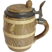 Mettlach Barrel Pewter Mounts Stein