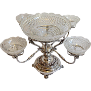 Silver Epergne Cut Glass Bowls Circa 19th Century
