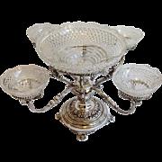 Silver Epergne Cut Glass Bowls Circa 19th Century