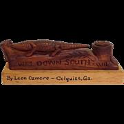 Alligator 'Way Down South' Carved Georgia Folk Art Souvenir