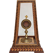 Reliquary Three Relics with Marquetry Display Case