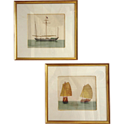 Pair of Chinese Trade Watercolors Framed 19th Century