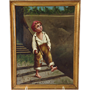 Chimney Sweep Oil On Canvas Antique