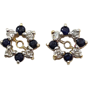 Pair Of Sapphire And Diamond Earring Jackets 14 Karat