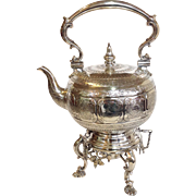 English Silver Tipping Kettle on Stand Elkington Family Crest Circa 1870's