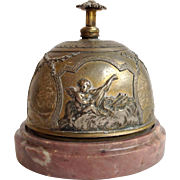 French Sterling Cherub Desk Bell Rouge Marble Base 19th Century