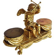 Gilt Bronze Drummer Boy Cherub Inkwell France 19th Century