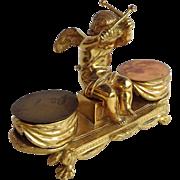Gilt Bronze Drummer Boy Cherub Inkwell France 19th Century