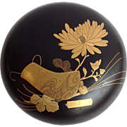 """Japanese Round Lacquer Box with Gilt Chrysanthemum  7 3/4"""""""
