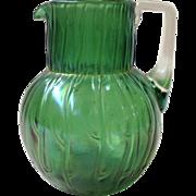 Loetz Neptune Green Glass Pitcher Antique