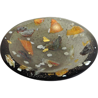 """Flo Ulrich Becker Water Carrying Pebbles 5"""" Bowl Grey"""