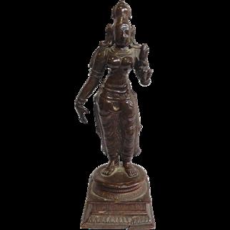 Antique Bronze Figure Indian Goddess 19th Century