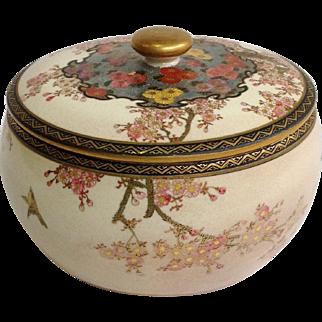 Satsuma Covered Jar Cherry Blossom And Birds