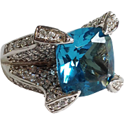 Large Square Cut Faceted Faux Aquamarine Set In Sterling Ring Size 8.75