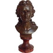 Schiller Antique Bronze Bust Red Marble Base