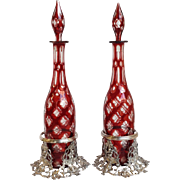 Pair Red Cut To Clear Decanters with Silverplate Grape Coasters