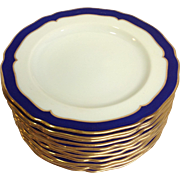 """Group of Cobalt and Gilt Spode Copeland 9"""" Dinner Plates Pattern Y3198"""