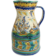 """Italian Faience Stag And House Pitcher 12"""""""
