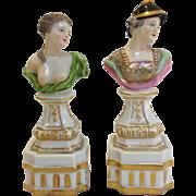 Pair German Porcelain Bust Figures Meyers & Sohn 19th Century