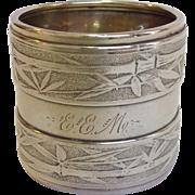 Gorham Sterling Bamboo Napkin Ring 'EEM' Victorian