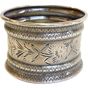 Flowers And Vine Napkin Ring Sterling