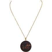 Japanese Amita Damascene Rickshaw Necklace