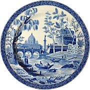 """Spode Blue and White Tiber Or Rome 8"""" Plate"""