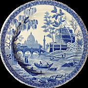 Spode Blue and White Tiber or Rome Dinner Plate