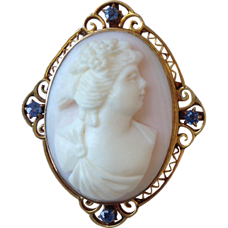 Cameo with Sapphires Late Victorian 10 Karat Gold