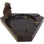 Bronze Children With Frog Black Marble Ashtray
