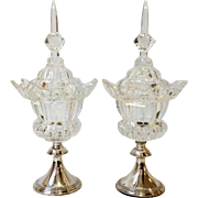 """Pair of Cut Glass Covered Compotes Sterling Bases England 17"""""""